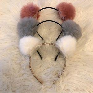 3 Pom Pom Ear Headbands